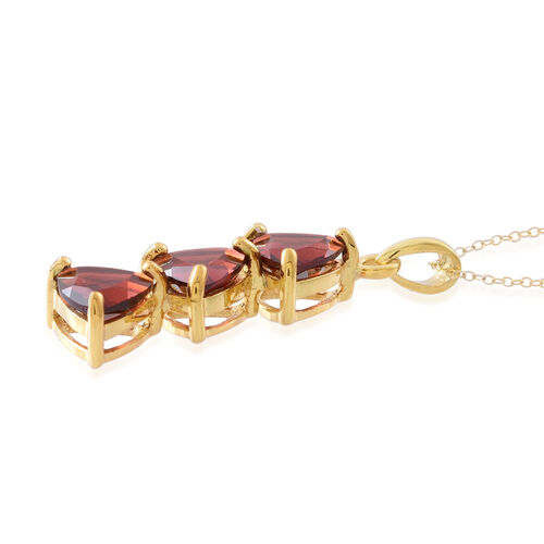 Mozambique Garnet (Trl) Trilogy Pendant with Chain in 14K Gold Overlay Sterling Silver 4.500 Ct.