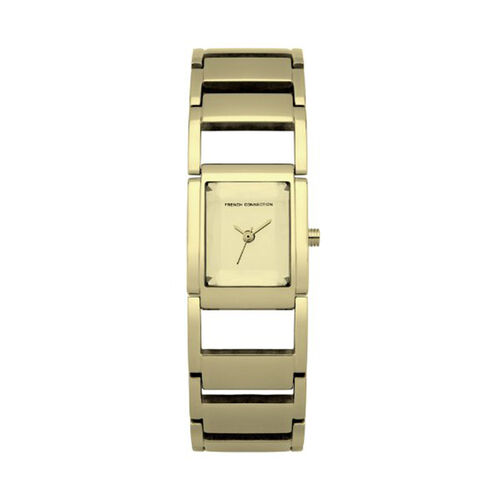 French Connection Gold Dial Bracelet Watch With Gold Tone Strap