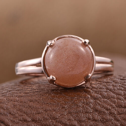Morogoro Peach Sun Stone (Rnd) Solitaire Ring in Rose Gold Overlay Sterling Silver 3.500 Ct.