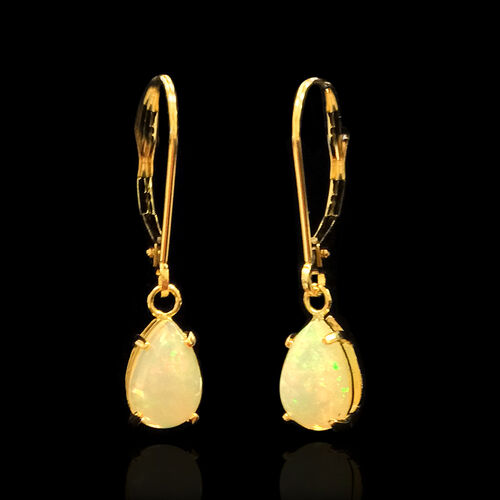 14K Y Gold Ethiopian Welo Opal (Pear) Lever Back Earrings 1.75 Ct.