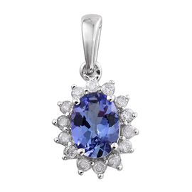 9K White Gold 1 Carat AA Tanzanite Halo Pendant with Diamond