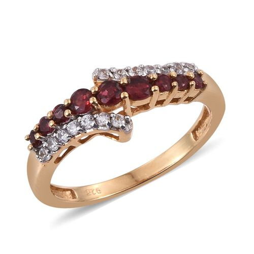 Mahenge Spinel (Rnd), Natural Cambodian Zircon Ring in 14K Gold Overlay Sterling Silver 0.750 Ct.