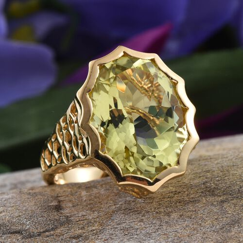 Natural Ouro Verde Quartz (Ovl) Ring in 14K Gold Overlay Sterling Silver 17.000 Ct.