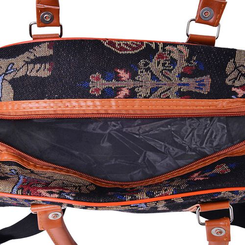 Black, Brown and Multi Colour Elephant Pattern Jacquard Tote Bag with Adjustable Shoulder Strap (Size 35X24X14 Cm)