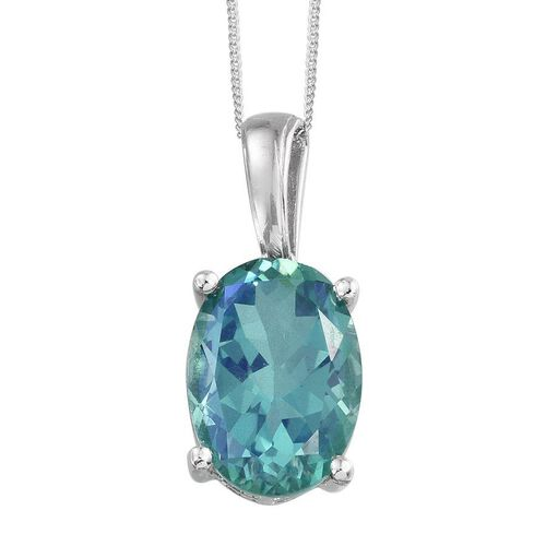 Peacock Quartz (Ovl) Pendant With Chain in Platinum Overlay Sterling Silver 12.000 Ct.