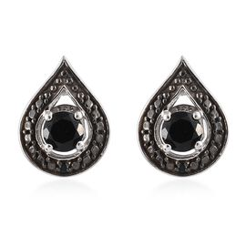 Boi Ploi Black Spinel (Rnd) Stud Earrings (with Push Back) in Black and Platinum Overlay Sterling Silver 1.250 Ct.