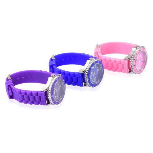 Designer Inspired Special Edition Set of 3 - STRADA Japanese Movement Purple, Blue and Pink Colour Dial Water Resistant Watch with Silicone Strap