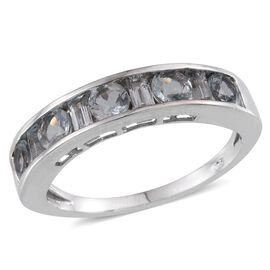 Espirito Santo Aquamarine (Rnd) Half Eternity Band Ring in Platinum Overlay Sterling Silver 1.500 Ct.
