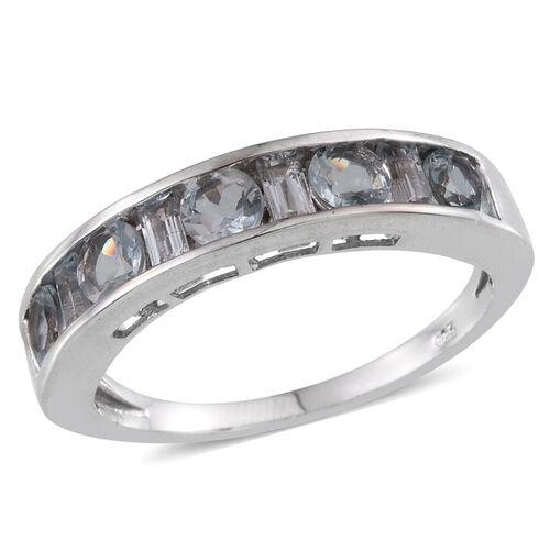 Espirito Santo Aquamarine (Rnd) Half Eternity Band Ring in Platinum Overlay Sterling Silver 1.500 Ct.