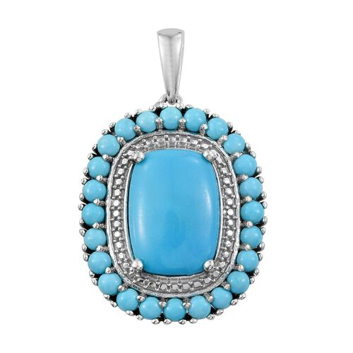 Arizona Sleeping Beauty Turquoise (Cush 4.50 Ct) Pendant in Platinum Overlay Sterling Silver 6.250 Ct.