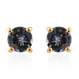 Green Tanzanite 0.50 Ct Silver Stud Earrings (with Push Back) in Gold Overlay