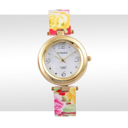 STRADA Japanese Movement Multi Colour Floral Pattern Watch in Yellow Gold Tone with Stainless Steel Back