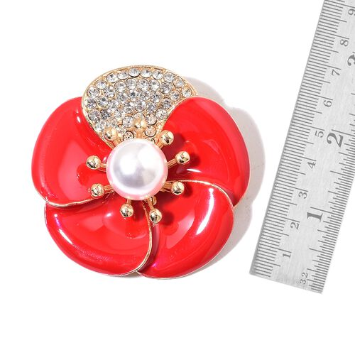 (Option 2) Simulated Pearl and White Austrian Crystal Red Colour Enameled Flower Brooch in Yellow Gold Tone