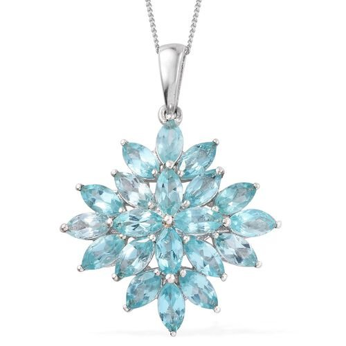 Paraiba Apatite (Mrq) Pendant with Chain in Platinum Overlay Sterling Silver 5.500 Ct.