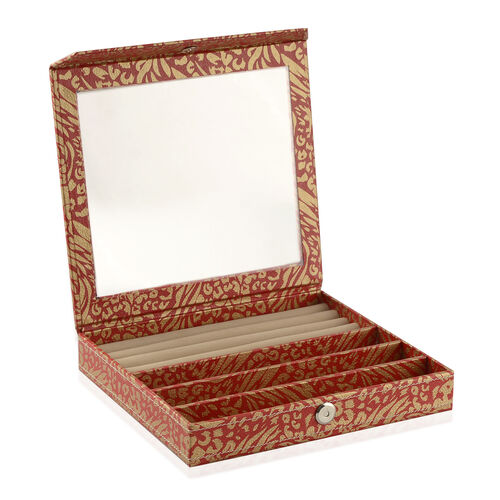Hand Crafted - Eco Leatherette Red and Golden Colour Ring and Bracelet Storage Box (Size 24x22x4 Cm)