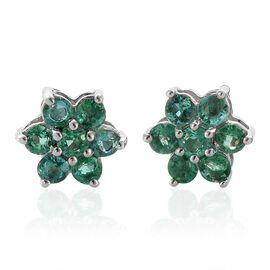 RHAPSODY 950 Platinum AAAA Boyaca Colombian Emerald (Rnd) Floral Stud Earrings (with Screw Back) 0.850 Ct.