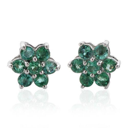 RHAPSODY 950 Platinum Boyaca Colombian Emerald (Rnd) Floral Stud Earrings (with Screw Back) 0.850 Ct.