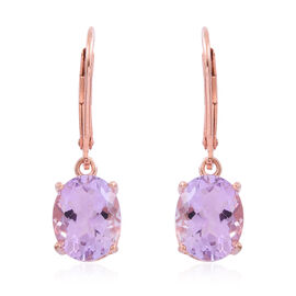 Rose De France Amethyst (Ovl) Lever Back Earrings in Rose Gold Overlay Sterling Silver 4.500 Ct.