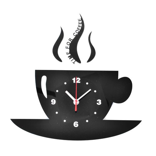 DIY Modern Black Cup Design Wall Clock