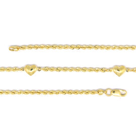 Designer Inspired - 9K Y Gold Rope with Heart Charm Necklace (Size 30), Gold wt 5.00 Gms.