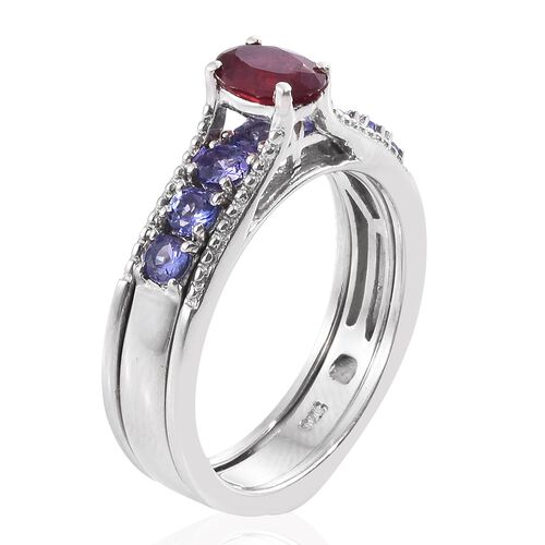 Limited Edition- Set of 3 African Ruby (Ovl 1.20 Ct), Tanzanite and Russian Diopside Interchangeable Stacker Ring in Platinum Overlay Sterling Silver 4.000 Ct. Silver Wt. 12.38 Grams