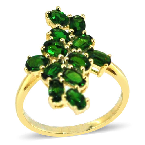 Russian Diopside (Ovl) Ring in 14K Gold Overlay Sterling Silver 2.750 Ct.