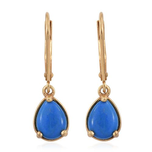 Ceruleite (Pear) Lever Back Earrings in 14K Gold Overlay Sterling Silver 2.000 Ct.