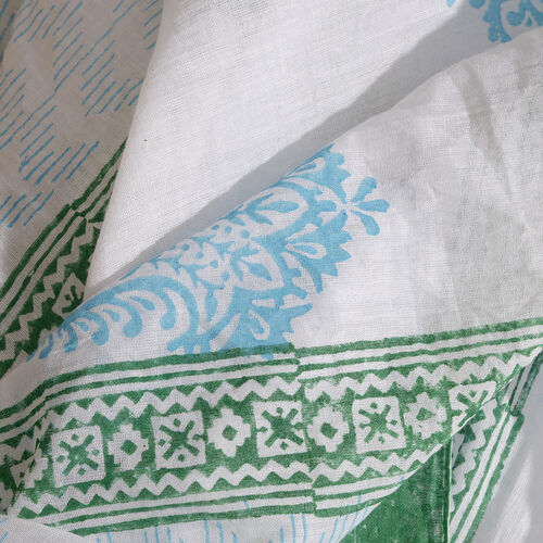 100% Cotton Turquoise, Green and White Colour Hand Block Printed Pareo with Tassels (Size 180X100 Cm)