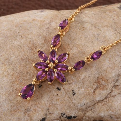 Rare Mozambique Grape Colour Garnet (Pear 0.50 Ct) Floral Necklace (Size 18) in 14K Gold Overlay Sterling Silver 2.500 Ct.