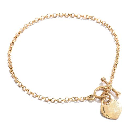 Vicenza Collection Love Heart Charm Bracelet (Size 7.5) in 14K Gold Overlay Sterling Silver