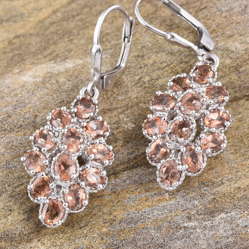 Jenipapo Andalusite (Ovl) Lever Back Earrings in Platinum Overlay Sterling Silver 4.000 Ct.