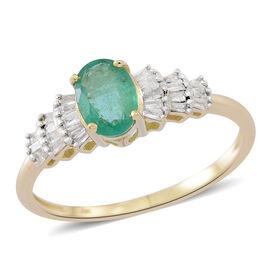 9K Y Gold AA Kagem Zambian Emerald (Ovl), Diamond Ring 1.000 Ct.