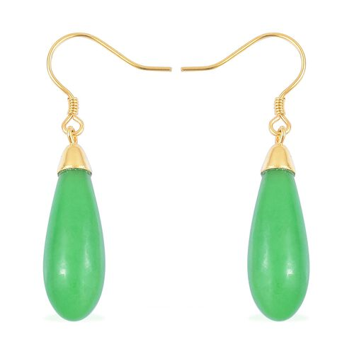 Burmese Green Jade Drop Hook Earrings in Yellow Gold Overlay Sterling Silver 14.400 Ct.