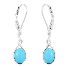 Arizona Sleeping Beauty Turquoise (Ovl) Lever Back Earrings in Platinum Overlay Sterling Silver 1.750 Ct.