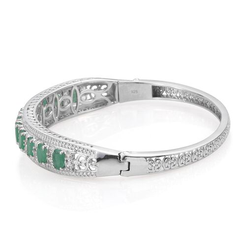 Kagem Zambian Emerald (Ovl), White Topaz Bangle (Size 7.5) in Platinum Overlay Sterling Silver 6.750 Ct.
