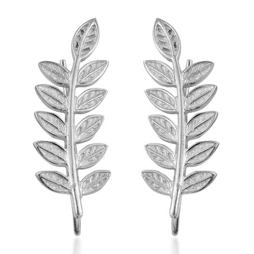 Rhodium Plated Sterling Silver Leaves Climber Earrings, Silver wt. 4.40 Gms.