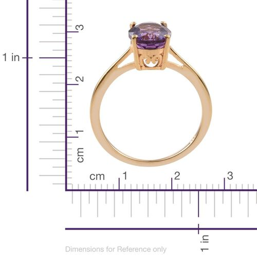 Amethyst 1.50 Ct Silver Solitaire Ring in Gold Overlay