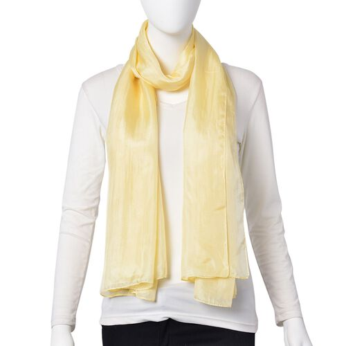 Pantone Collection- 100% Mulberry Silk Cream Colour Scarf (Size 180X100 Cm)
