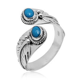 Royal Bali Collection Arizona Sleeping Beauty Turquoise (Ovl) Crossover Ring in Sterling Silver 0.580 Ct.