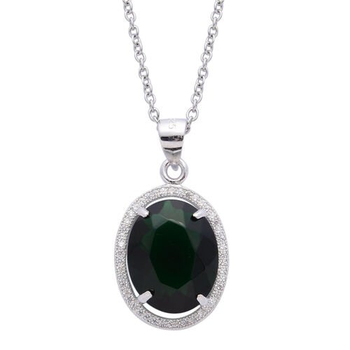 AAA Simulated Emerald and Simulated White Diamond Pendant With Chain (Size 18) in Rhodium Plated Sterling Silver 5.000 Ct.