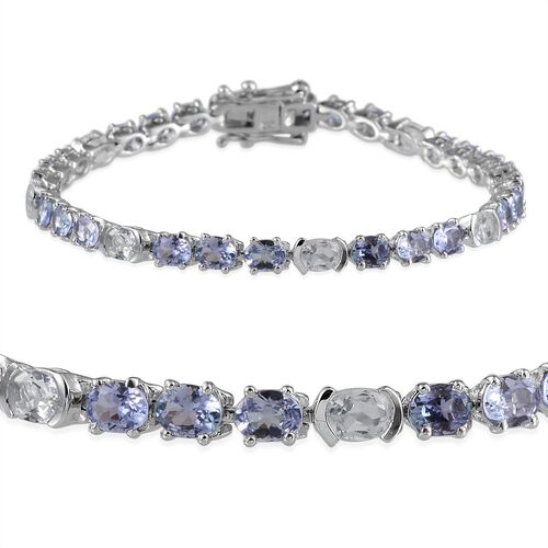AA Tanzanite (Ovl), White Topaz Bracelet (Size 7.5) in Platinum Overlay Sterling Silver 10.250 Ct.