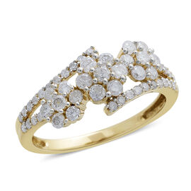 9K Yellow Gold 1 Carat Diamond Triple Floral Crossover Ring SGL Certified I3 G-H