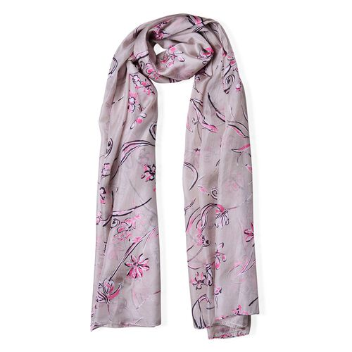 100% Mulberry Silk Grey, Pink and Black Colour Floral Pattern Scarf (Size 180X110 Cm)