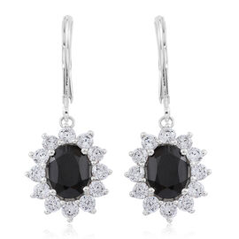 Boi Ploi Black Spinel (Ovl), Simulated Diamond Lever Back Earrings in Sterling Silver 4.750 Ct.
