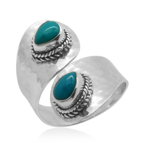 Royal Bali Collection Arizona Sleeping Beauty Turquoise (Pear) Crossover Ring in Sterling Silver
