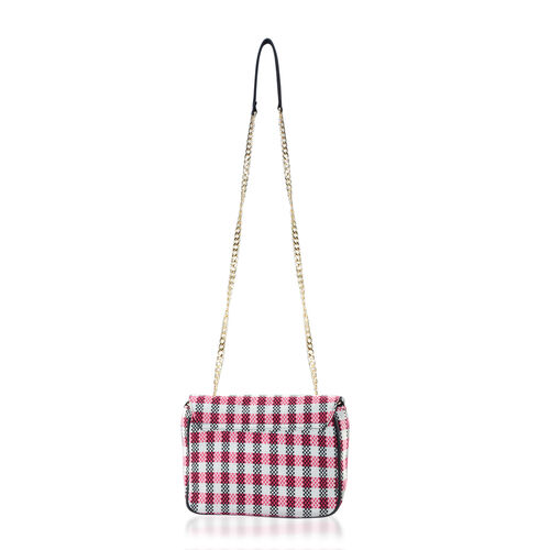 Black, White and Rose Red Colour Check Pattern Shoulder Bag (Size 24x20x8 Cm)