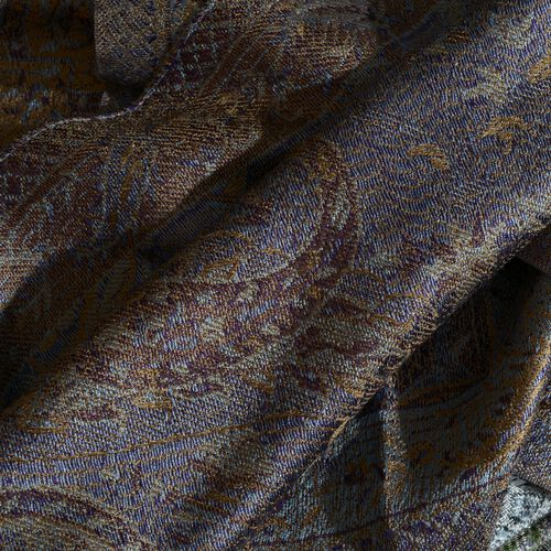 SILK MARK - 100% Superfine Dark Beige and Multi Colour Paisley and Floral Pattern Jacquard Jamawar Scarf with Tassels (Size 160X35 Cm)