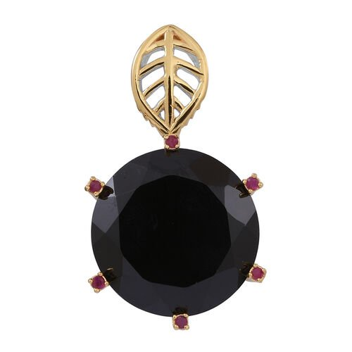 Boi Ploi Black Spinel (Rnd), Burmese Ruby Pendant in Rhodium Plated Sterling Silver 33.500 Ct. Silver wt 5.10 Gms.