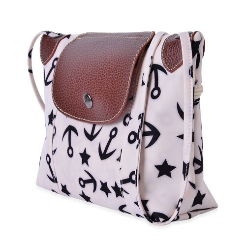 White and Black Colour Star and Anchor Pattern Crossbody Bag with External Zipper Pocket and Shoulder Strap (Size 25x20 Cm)