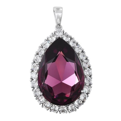 Limited Edition J Francis Crystal from Swarovski - Rubellite Colour Crystal (Pear 30x20 mm), White Colour Crystal Pendant in Platinum Overlay Sterling Silver
